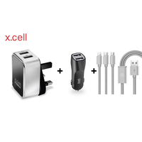 Xcell Dual USB Home Charger Xcell Car Charger with Charging Cable