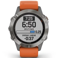 Garmin Fenix 6 Multisport GPS Watch, Titanium/Ember Orange