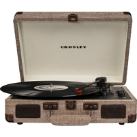 Crosley CR8005D-HA4 Cruiser Deluxe Turntable with Speaker, Havana Fabric - CH