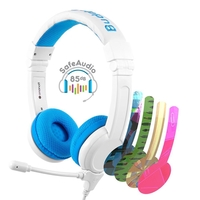 BuddyPhones School+ Safe Audio School Headphones for Kids, Blue