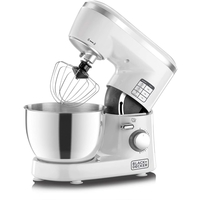 Black & Decker SM1000 1000W 6-speed Stand Mixer with Stainless Steel Bowl, White / Silver