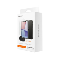 Spigen iPhone 12 and 12 Pro Clear Case+ Tempered Glass+ Wall Charger 27w Bundle