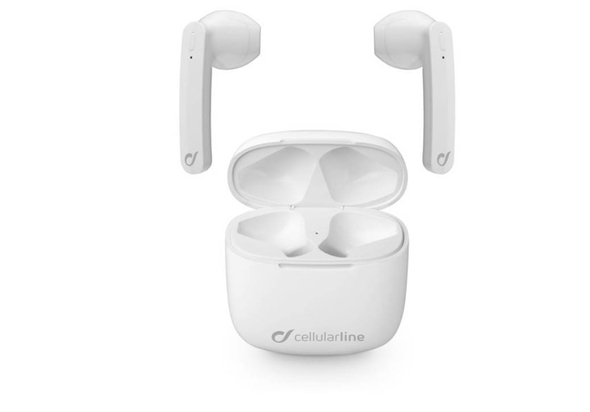 Cellularline, BTARIESTWSW, Aries Wireless Capsule- Shaped In-Ear Bluetooth - White