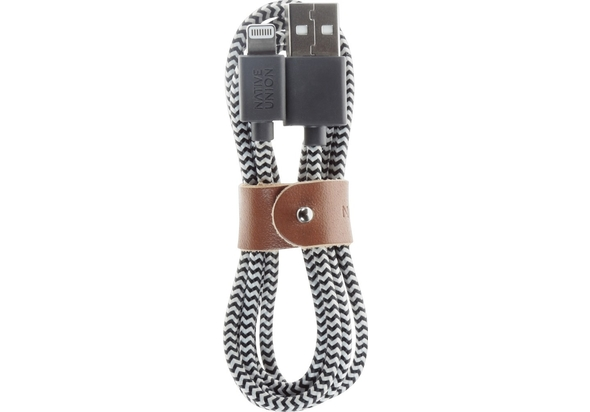 Native Union Belt 1.2m Lightning-to-USB Charge-and-Sync Cable, Zebra