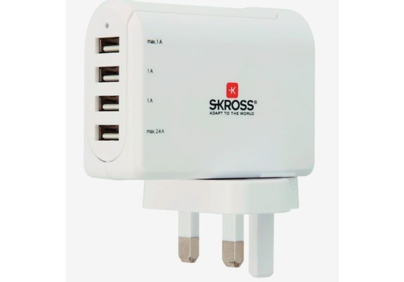 Skross 4.8A Uk USB Charger 4 Port