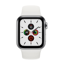 Apple Watch Series 5 44mm Stainless Steel Case with White Sport Band, GPS+ Cellular