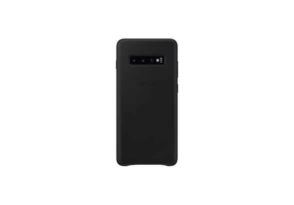 Samsung Galaxy S10+ Leather Back Cover, Black,  White