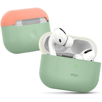 Elago EAPPDO-PGR-CWHPE AirPods Pro Case, Silicone Duo Cover, White/Peach, Bottom-Pastel Green