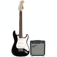 Fender Squier Short Scale Strat Pack SSS Electric Guitar, Black