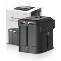 Elago Tripshell Universal Dual USB Travel Adapter, Black