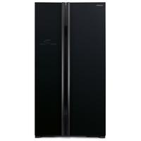 Hitachi RS700PUK2GBK 700L Side By Side Refrigerator, Glass Black