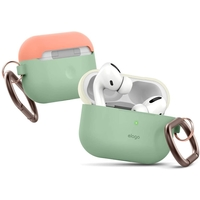 Elago EAPPDH-PGR-CWHPE AirPods Pro Case, Silicone Duo Hang Cover, Two Color Caps Front LED Visible Top-Classic White/Peach, Bottom-Pastel Green