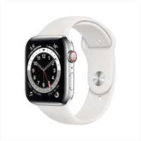Apple Watch Series 6 GPS+ Cellular, 44mm Silver Stainless Steel Case with White Sport Band - Regular