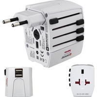 Hama HAM-128226 MUV USBWorld Travel Adapter Plug, 2 Pins