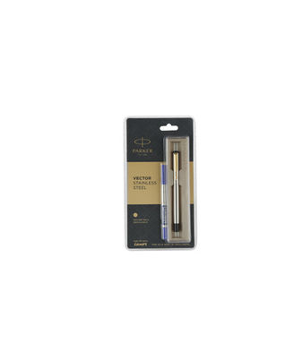 Parker Vector Stainless Steel Gold Trim Roller Pen (Blue Ink)