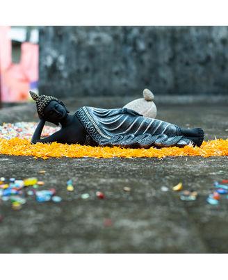 Resin Sleeping Buddha Silver
