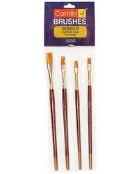 Camlin Kokuyo Paint Brush Series 67 - Flat Synthetic Gold, Set of 4