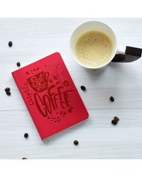 Smell The Coffee Notebook, red