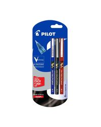 Pilot V7 Liquid Ink Roller Ball Pen (1 Blue+ 1 Black+ 1 Red)