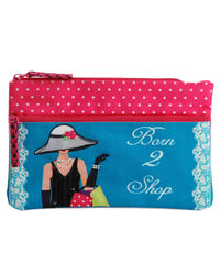 Born To Shop Two Zip Pouch