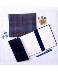 Plaid Desk Planner, blue