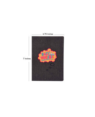 HaPPy Thoughts Denim Notebook, black