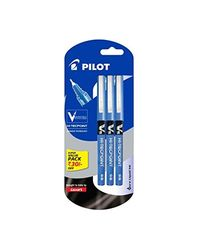 Pilot V5 Pen Liquid Ink Roller Ball Pen - Pack of 3, Blue