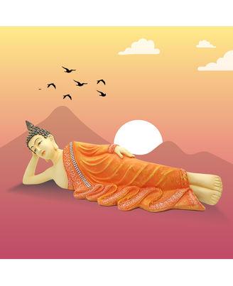 Resin Sleeping Buddha Orange