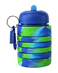 Silicone Expandable And Foldable Water Bottle Dark Blue