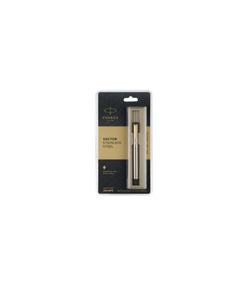 Parker Vector Stainless Steel Gold Trim Fountain Pen (Blue Ink)