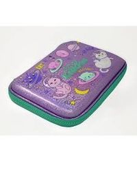 Smily sparkle pencil case - space kitty- Purple