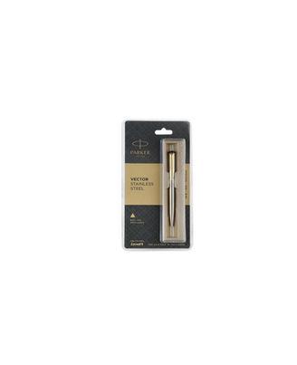 Parker Vector Stainless Steel Gold Trim Ball Pen (Blue Ink)