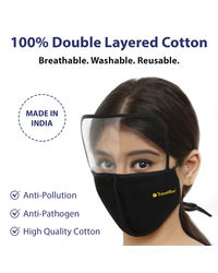Travel Blue Cotton Face Mask With Face Shield (Black)