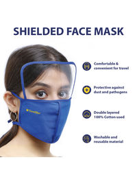 Travel Blue Cotton Face Mask With Face Shield (Blue)