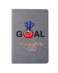 """Doodle Iron On Patch Bull's Eye Diary Notebook, PU Leather, Hard Bound, Ruled, 200 Pages, 80 GSM, A5 (8.5"""" x 5.5"""" ) , Grey"""
