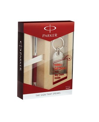Parker Vector Metallix Chrome Trim Roller Ball Pen Red Gift Set with Free Key Chain