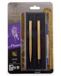 Parker Vector Gold Gt Roller Ball+ Ball Pen (Blue Ink)