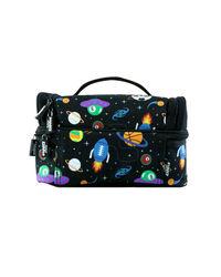 Smily Dual Slot Lunch Bag Black