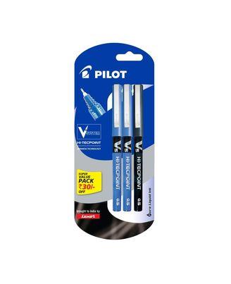 Pilot V5 Liquid Ink Roller Ball Pen - 2 Blue+ 1 Black