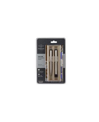 Parker Vector Stainless Steel Chrome Trim Ball Pen (Blue Ink)