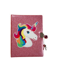 Unicorn Glitter Notebook With Lock, mix
