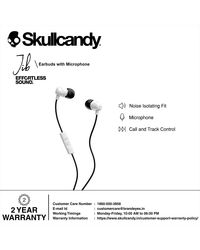 Skullcandy Jib Wired In-Earphone With Mic (White/Black), multicolour