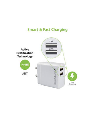 Ultraprolink Um0088 Boost 24 4.8A Dual Usb Charger (White), multicolour