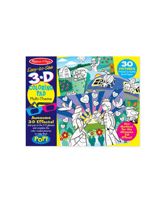 Melissa And Doug Multi Theme 3D Coloring Pad, Age 4+