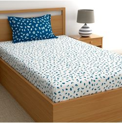 Dreamscape 180TC Twill Blue Abstract Single Bedsheets, blue, single
