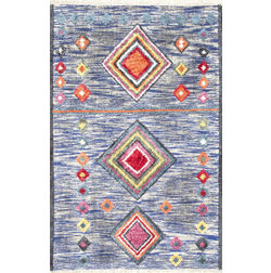Floor Carpet and Rugs Hand Tufted, The Rug Concept Blue Carpets Online Tbilisi 6003-M, 3ft x 5ft, blue