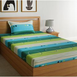 100% Cotton 140TC Stripe Designs Bed Sheet with 1 Pillow Covers, single, green