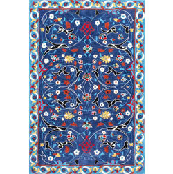 Floor Carpet and Rugs Hand Tufted, The Rug Concept Blue Carpets Online Tbilisi 6050-M, 3ft x 5ft, blue
