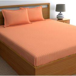 Dreamscape 220TC, Peach Satin Stripe 100% Cotton Double Bedsheets, peach, double