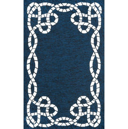 Floor Carpet and Rugs Hand Tufted, The Rug Concept Navy Carpets Online Tbilisi 6043-M, 3ft x 5ft, navy blue